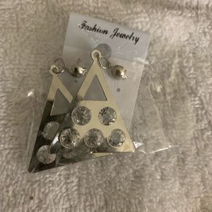 Silver CZ triangle earrings